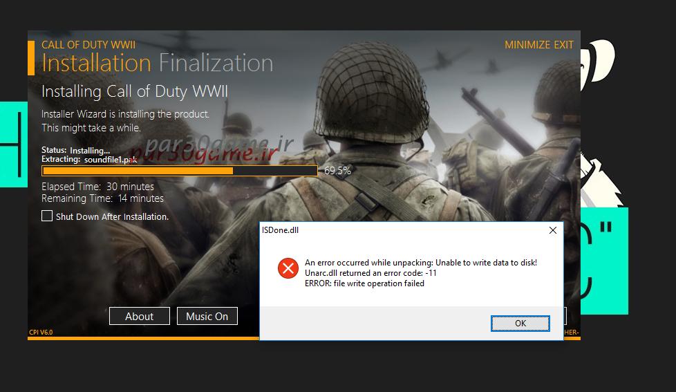 Call of Duty WWII ISDone.dll Error