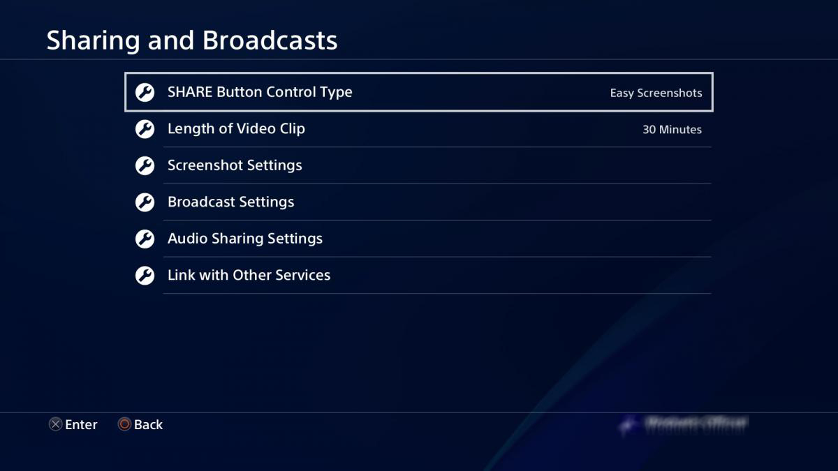 Sharing And Broadcast Settings