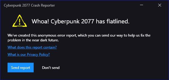 رفع ارور Whoa! Cyberpunk 2077 has flatlined