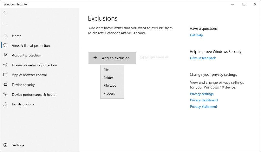 Windows Defender Excludes