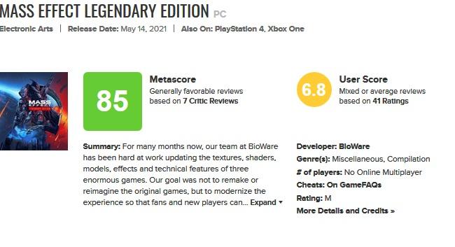Mass Effect Legendary Edition Meta